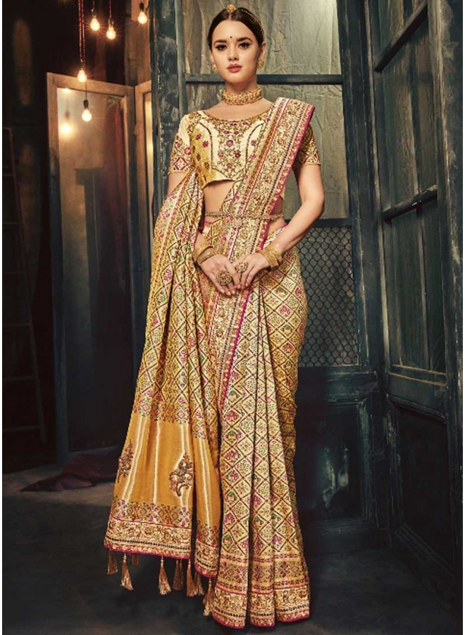 Cream Embroidery Work With Printed Designer Heavy Wedding Saree
